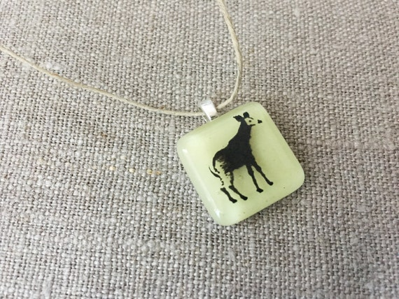 Okapi Pendant Glass Jewelry Necklace of Fused Glass by Happy Owl - african animal safari black on pale yellow cute kids jewelry