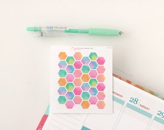 36, Hexagon, Planner Stickers, Bright, Watercolor, Watercolour, Functional, Decor, Highlight, Appointment, Planner, Diary, To Do, GEO2