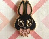 Black Bunny Rabbit Hard Enamel Lapel Pin