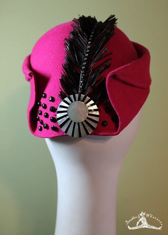 Women's Bright Pink Wool Sculptured Hat with Black Feather - Women's Pink Wool Sculpted Cloche - Art Deco Style Women's Wool Hat - OOAK