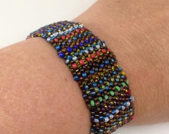 Bead woven bracelet with elastic, one size peyote stitch bracelet in brown multi, one inch wide beaded bracelet, easy on stretch bracelet