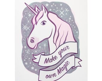 Unicorn Risograph art print