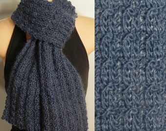 Hand Made Rib Knit Scarf Wool Mohair Blue