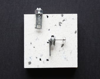 90s Grunge Earrings, SILVER Zipper Earrings | Minimalist '80s, Unisex Jewelry, Everyday Jewelry, 80s Earrings, Fun Quirky Unique Gift