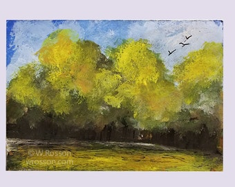 ACEO, Trees and Birds, Original Landscape Painting, Original Painting, Birds Flying, Bird Art, Bird Painting, Art Card, Winjimir, Decor,