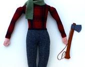 Reserved for 123kasia- Classic Lumberjack man wool doll plush beard