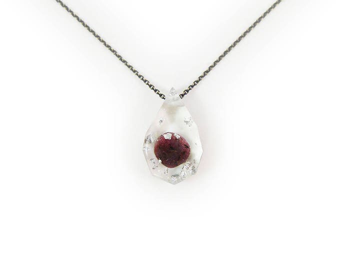 Tumbled Ruby and Silver Leaf Eco-Resin Gemstone Necklace