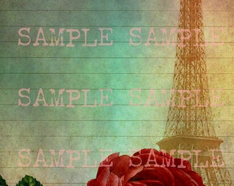 instant Digital Download > Collage Sheet Shabby Chic Floral Roses French Paris Eiffel Tower Journal Page > Stationary Scrapbook Lined Paper