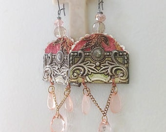 Cascade Earrings, Antique Embroidery, Blush Pink, Large Earrings, Long Earrings, Boho Earrings, Dangle Earrings