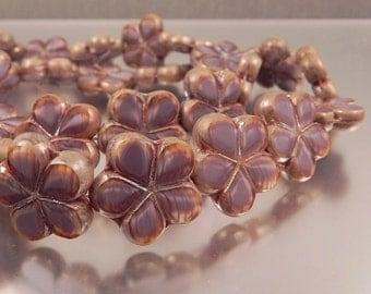 Dusty Violet Czech Glass table cut flower Beads, 10 beads