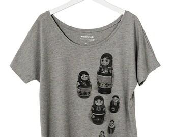 Nesting Dolls Graphic Shirt for Women, Hand Screen Printed Matryoshka Tee
