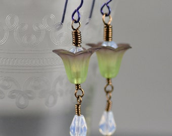 Dangle Earrings Featuring Vintage Pale Green and Purple Lucite Flowers and Opalite Glass Beads
