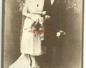 Vintage wedding photo bride groom veil top hat gloves formal marriage antique photo dress