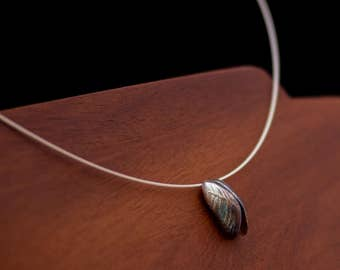 Mussel shells necklace - a pair of sterling silver mussel shells on a silver cable necklace, for those that miss the sea