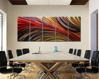 Huge Modern Metal Wall Art In Red, Brown & Gold, Contemporary Painting, Abstract Wall Art Decor - Cosmic Significance II XL by Jon Allen