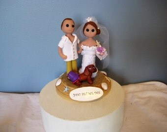 Beach Wedding Cake Topper, clay, dachshund, dog, sculpted, handmade, OOAK whimsical, ocean theme, beach theme