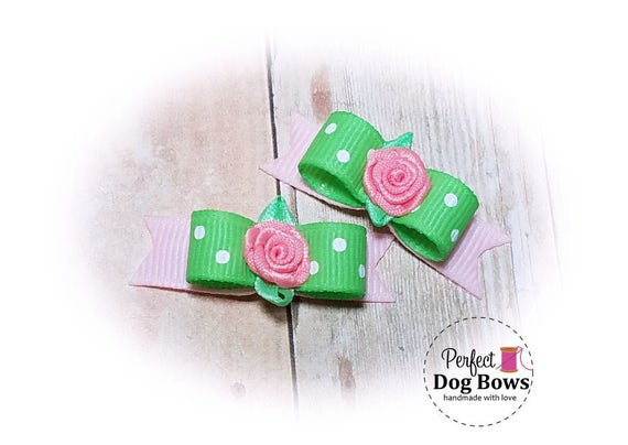Dog Bows - Mint/Pink Puppy Bows - Spring Dog Bow
