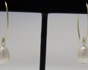 Gold-filled fresh water pearl earrings