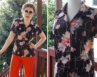 Flower BURST 1960's 70's Vintage Black Peach + Grey Floral Poly Shirt w/ Short Sleeves // size Small Med 38 // by Mr. SERGIO