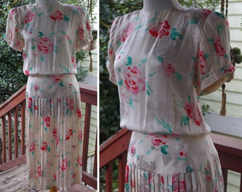 ROSE 1980's does 40's Vintage Cream White + Pink SILK Floral Pleated Dress // size Small 4 // by Maggy London Jeannene Booher