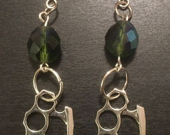 Silver Brass Knuckle and Black Glass Dangle Earrings