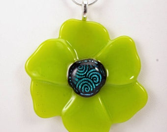 Spring green flower pendant, fused glass pendant, poppy pendant, flower necklace, pendant