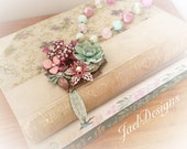 Je T'aime French Country Vintage Enamel Flower -  Pink, Mint Green, Raspberry Rhinestone Statement Necklace - OOAK