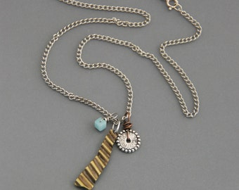 SALE!  45% off!  Charm Necklace, brass, teal amazonite, pewter, mixed metal, handmade, rustic, earthy, oxidized, charms, small pendant