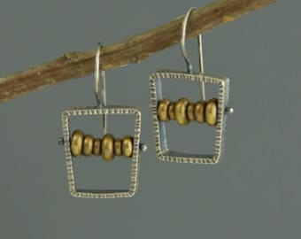Large Abacus Earrings Sterling Silver Brass Mixed Metal