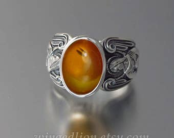 GUARDIAN ANGELS Mens silver ring with Amber (sizes 8 to 14) unisex ring