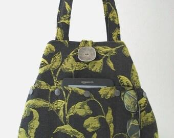 shoulder totes, tote handbag, fabric tote bag, gray purse, shoulder bag, diaper bag, shoulder purse, tote with pockets,  ready to ship