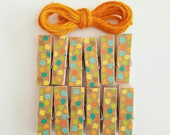 Colorful Fall Leaves - Chunky Clothespins w Twine for Display - Little Wooden Clips Set of 12