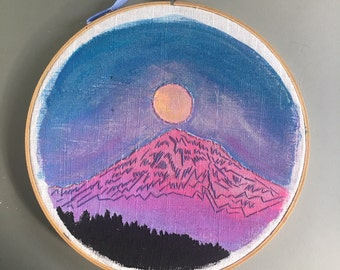 Mt. Hood Pink Moon - hand embroidered wall hanging / hoop art with flickering LEDs
