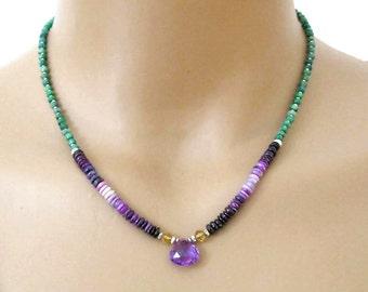 Emerald Sugalite Necklace Amethyst Citrine Sterling Silver DJStrang Boho Chic Gemstone Green Violet Purple Yellow