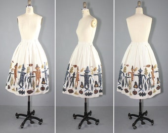 novelty print / vintage skirt / 1950s / SCARECROW HARVEST cotton novelty skirt