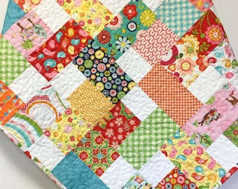 Baby Girl Quilt Colorful Scrappy Patchwork Crib Nursery Bedding OOAK