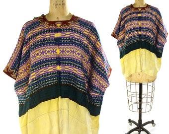 60s Guatemalan Huipil Cotton Blouse / Vintage 1960s Ethnic Bohemian Blouse / Handwoven / Velvet Neckline / Hippie Boho Mexican Peasant Folk