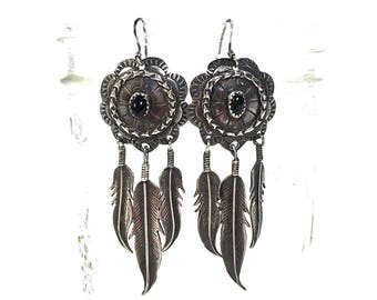 60s Navajo Sterling and Feather Earrings / Vintage 60s Native American Silver Onyx Concho Pierced Dangle Earrings / Southwest Boho Tribal