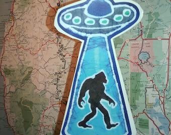 Alien Ship Beaming up Sasquatch- Vinyl sticker