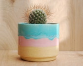 Round Ceramic Planter - Succulent Planter- Handmade Planter - Pink ,Blue and Beige - Ceramics and Pottery- Modern Ceramics