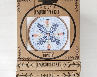 SPRING DREAM embroidery kit - embroidery hoop art, DIY stitching kit, floral mandala, leaves and thistles, pink blue gold floral hoop, poppy