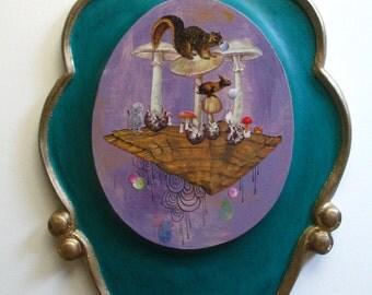 Original Collage & Painting on Vintage Wood-Squirrel-Kittens-Mushrooms