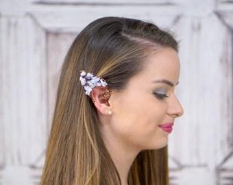 Elf Ear Cuff, Antique Brass, Lace Agate and Amethyst , Elven Jewelry, Elf Ears, Water Fairy, Mermaid, Fairy Ear Cuff, Natural Stone, 2 cuffs