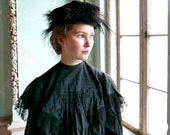 Edwardian Velvet and Feather Hat Size Small