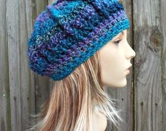 Caribbean Blue Beret Blue Womens Hat - Spring Monarch Beret Blue Crochet Hat - Blue Hat Blue Winter Hat Blue Beanie