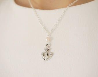 Nautical Necklace Nautical Jewelry Pink Necklace Pink Jewelry Bridesmaid Gift Bridesmaid Jewelry Anchor Necklace Anchor Jewelry Gift For Her