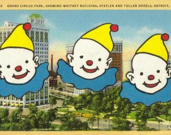 Vintage Detroit Postcard Souvenir, Retro Michigan Art, Whimsical Circus Clown Gift, Clown Wall Decor, Original Collage