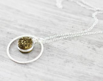 Gold and Silver Necklace, Gold Druzy Necklace, Wire Wrap Necklace, Sterling Silver Necklace, Drusy Pendant Necklace, Druzy Gemstone Necklace
