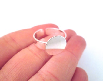 12mm Silver Plated Ring Blank with an open back adjustable cuff ring band, A365