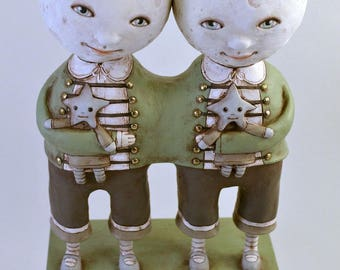 Twin Moons Original Hand Painted Folk Art Doll Paper Mache Sculpture OOAK